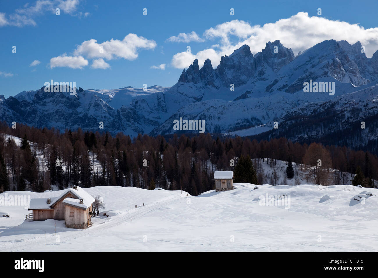 Chalets around San Pellegrino Pass and Pale di San Martino range in the background, Trentino Alto Adige, Italy, Stock Photo