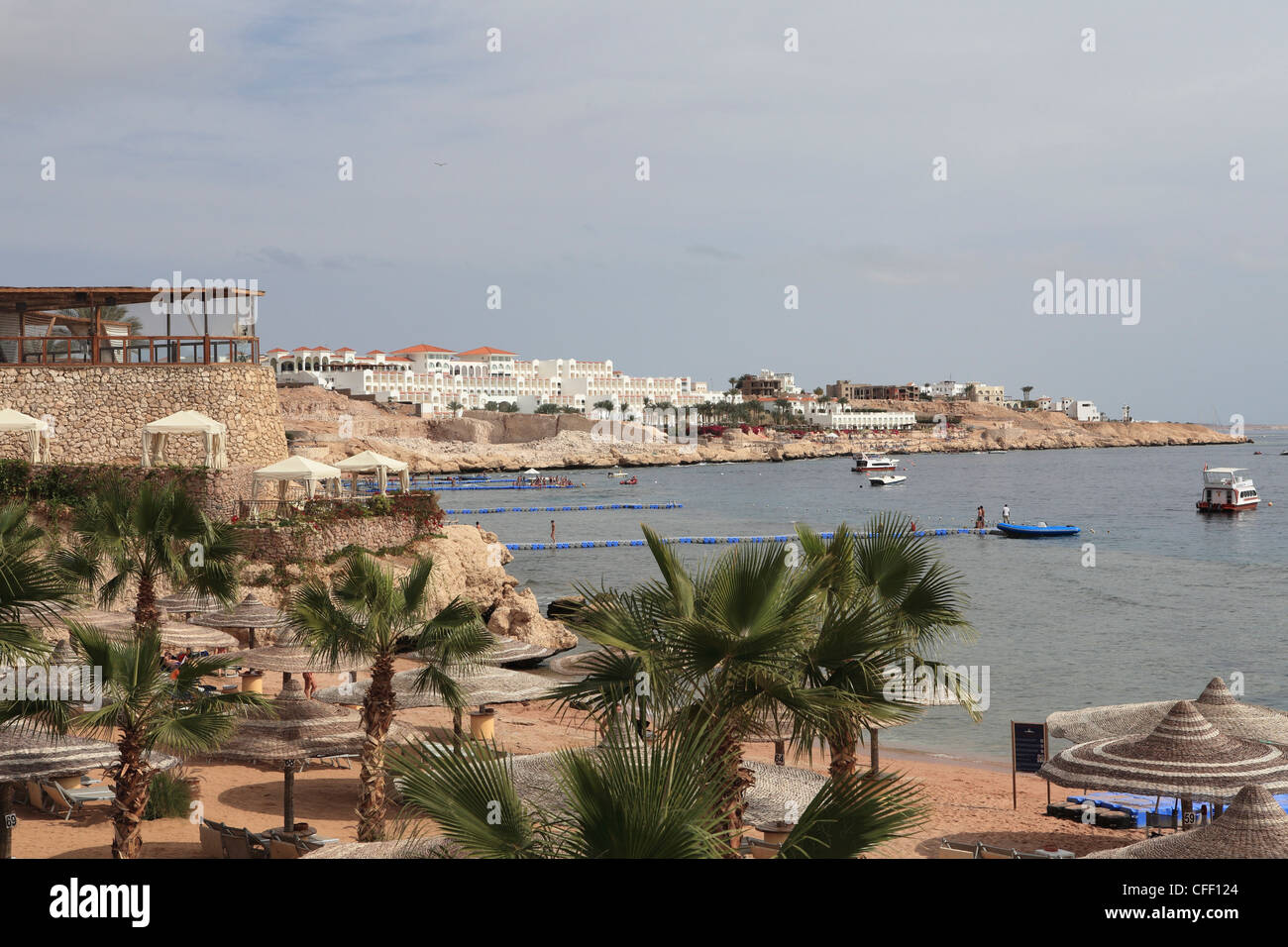 The beach area at the Savoy Resort at White Knight Beach, Sharm el-Sheikh, Egypt, North Africa, Africa - Stock Image