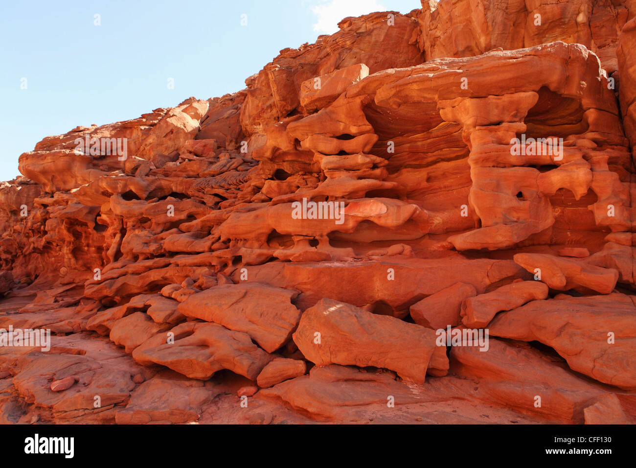 Erosion helps form stunning formations in the rocks of the Coloured Canyon, Sinai South, Egypt, North Africa, Africa - Stock Image