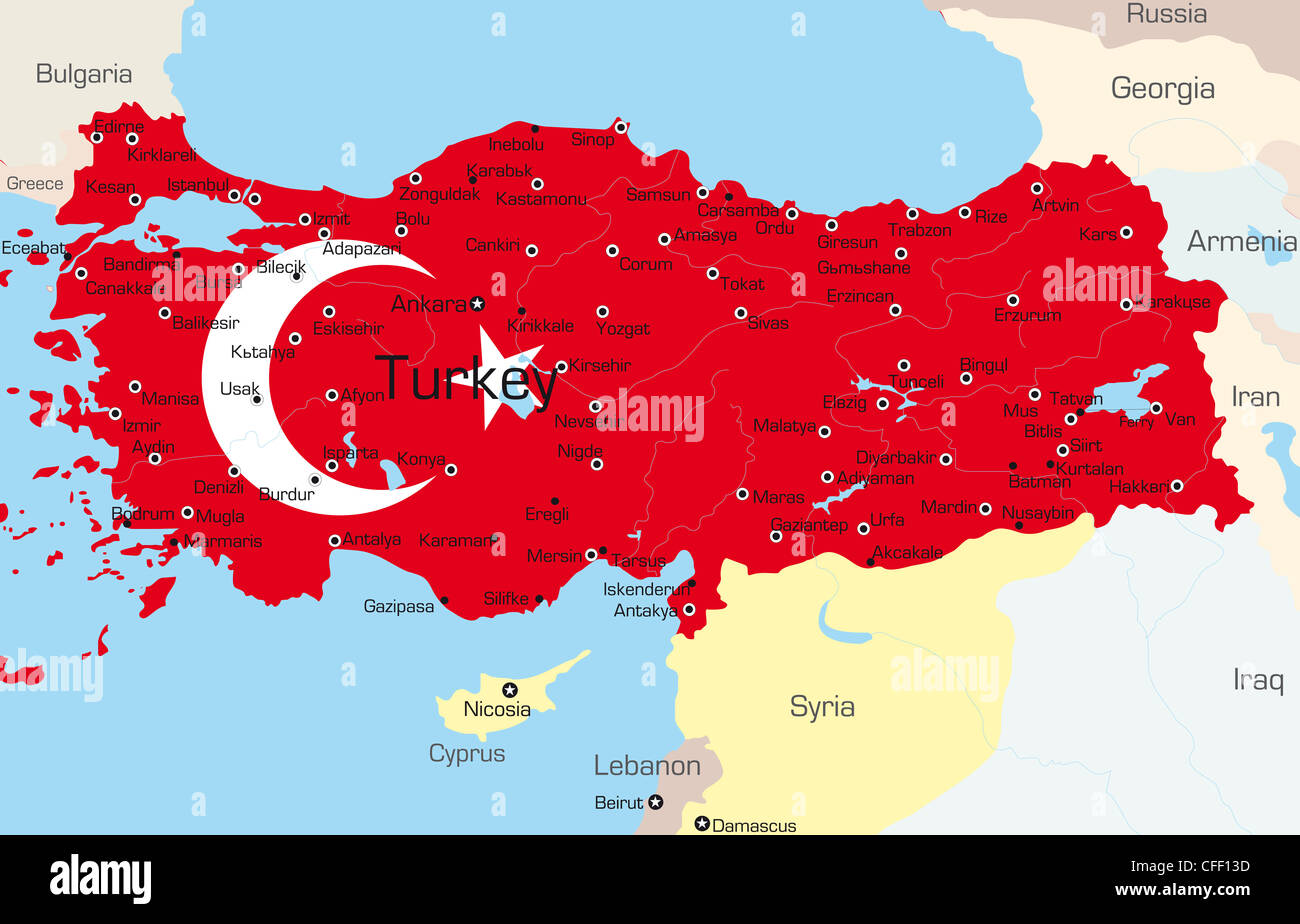 Vector map of Turkey country colored by national flag Stock Photo ...