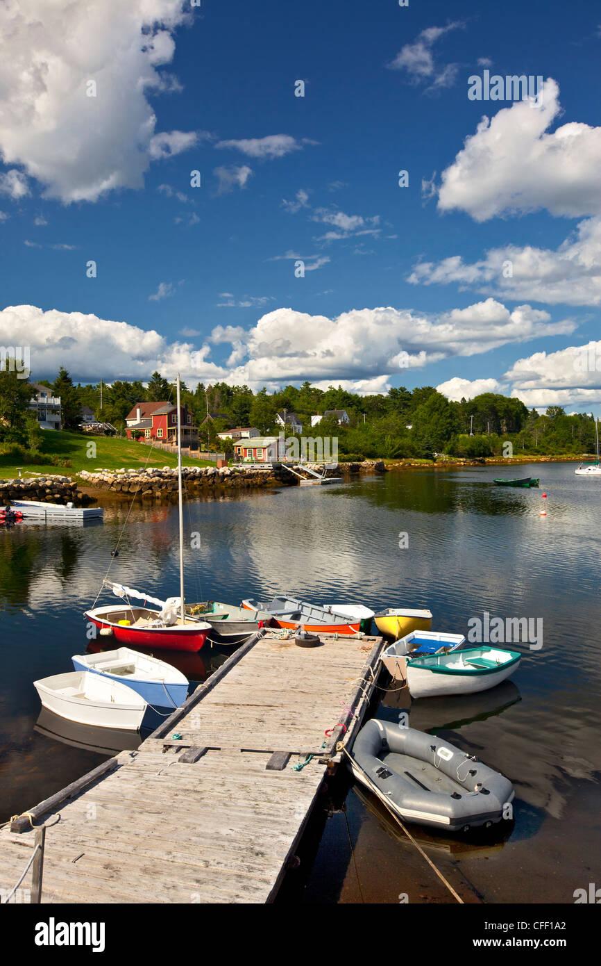 Small boats tied up at dock, Hubbards, Nova Scotia, Canada - Stock Image