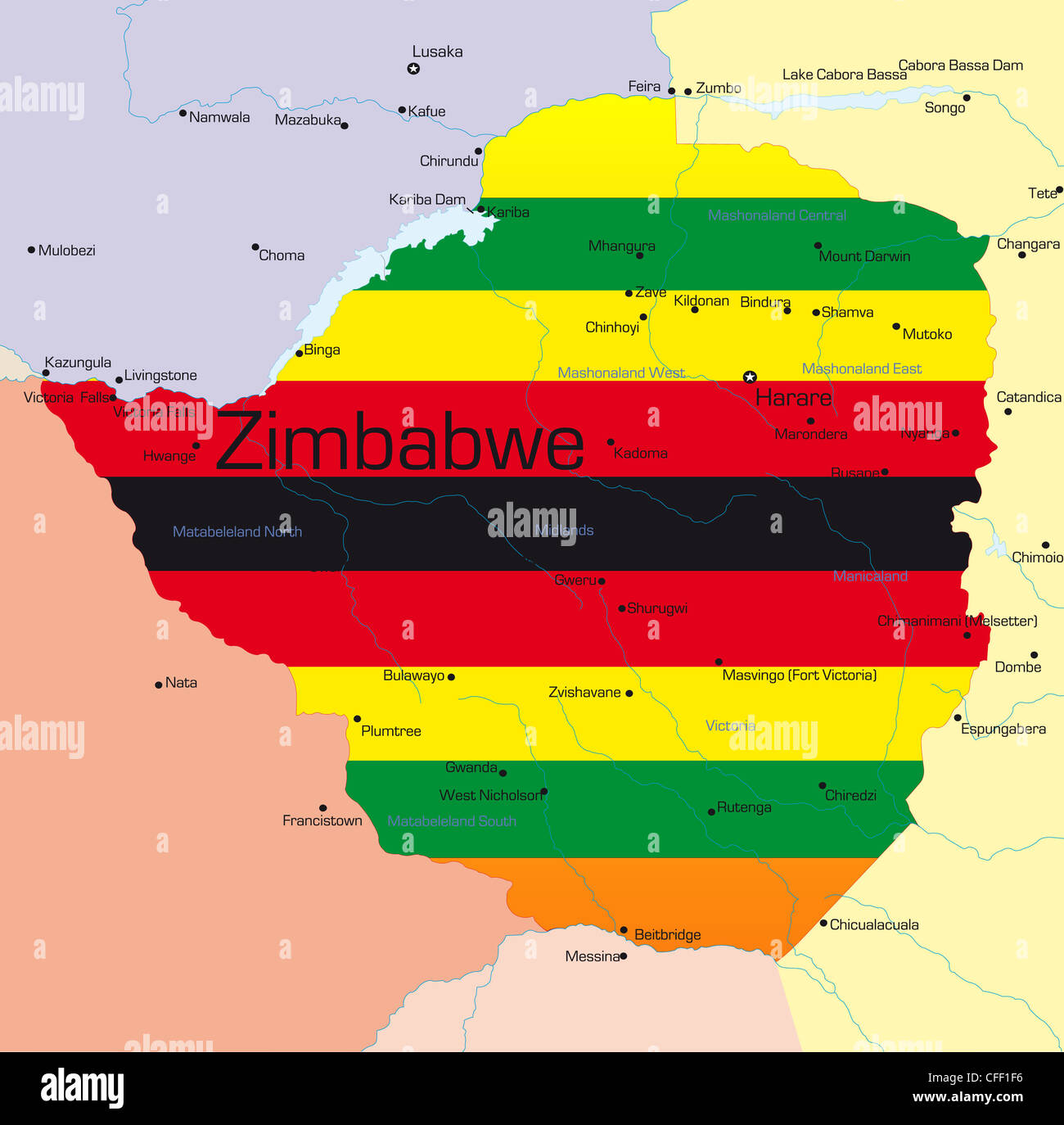 Abstract vector color map of zimbabwe country colored by national abstract vector color map of zimbabwe country colored by national flag gumiabroncs Images