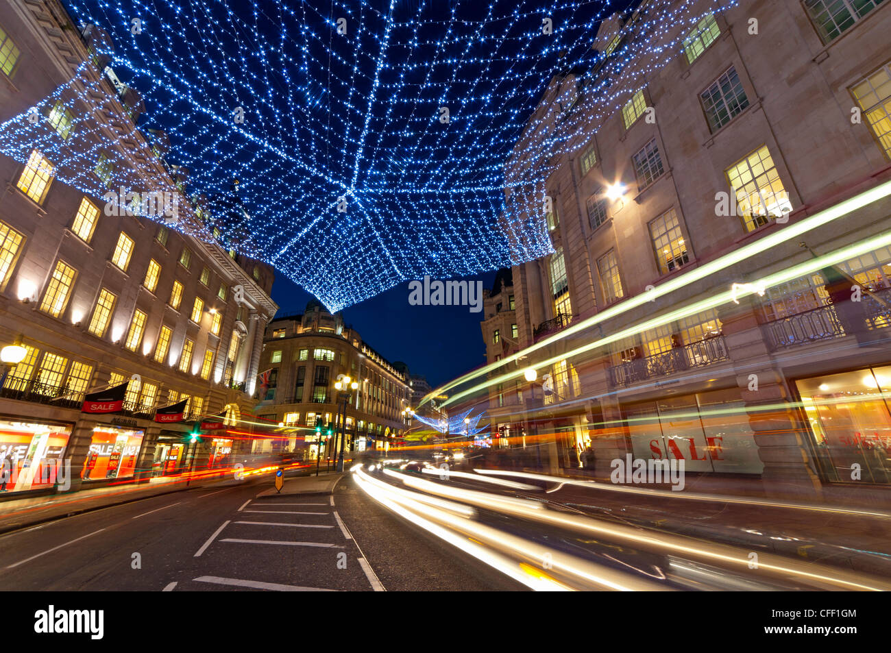 Christmas lights, Regents Street, London, England, United Kingdom, Europe Stock Photo