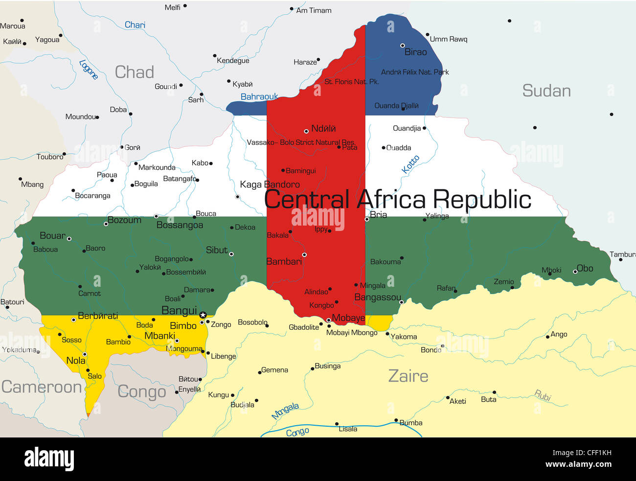 Abstract vector color map of Central Africa Republic country colored