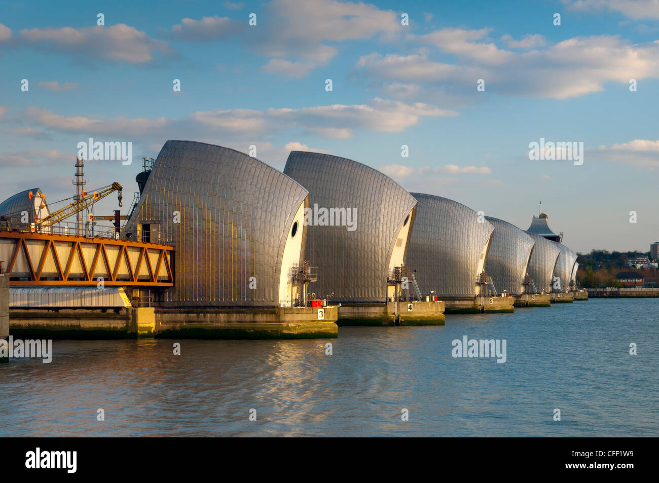Thames Barrier, Woolwich, London, England, United Kingdom, Europe - Stock Image