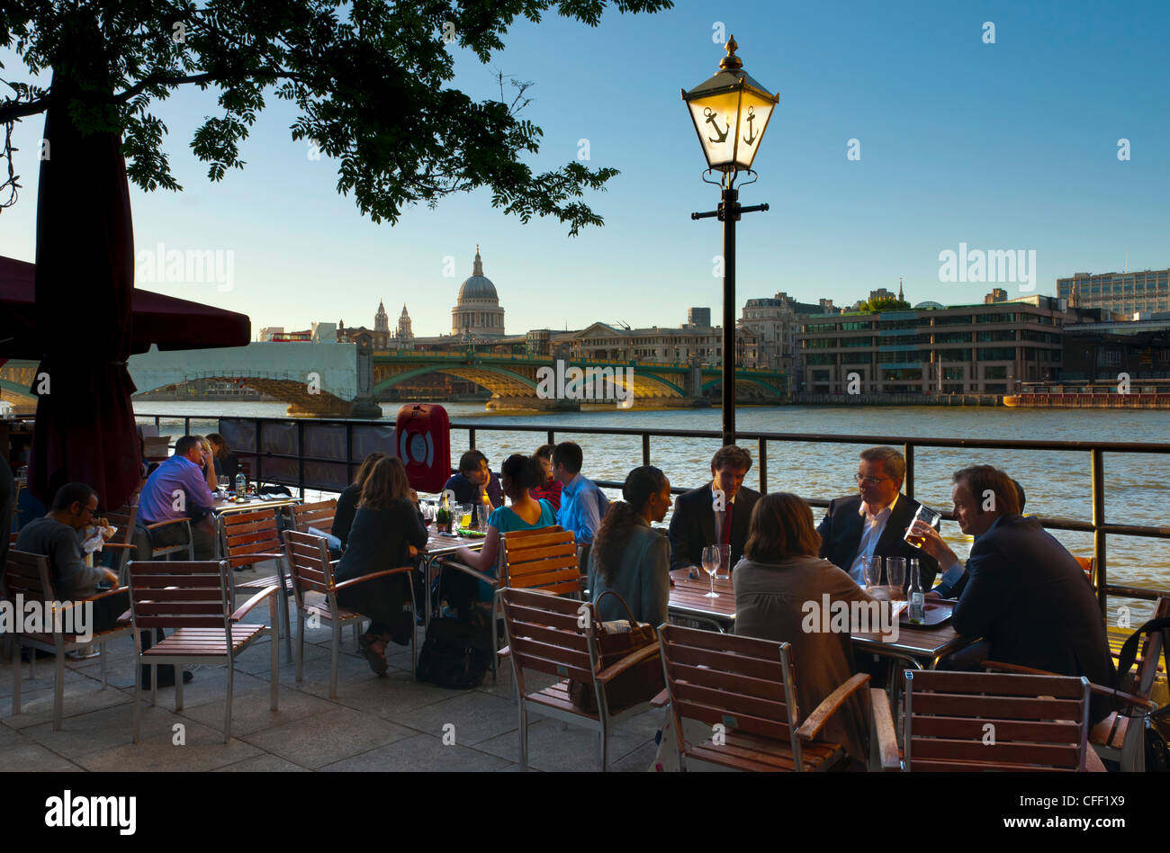 St. Paul's Cathedral from Southwark river bank, London, England, United Kingdom, Europe Stock Photo