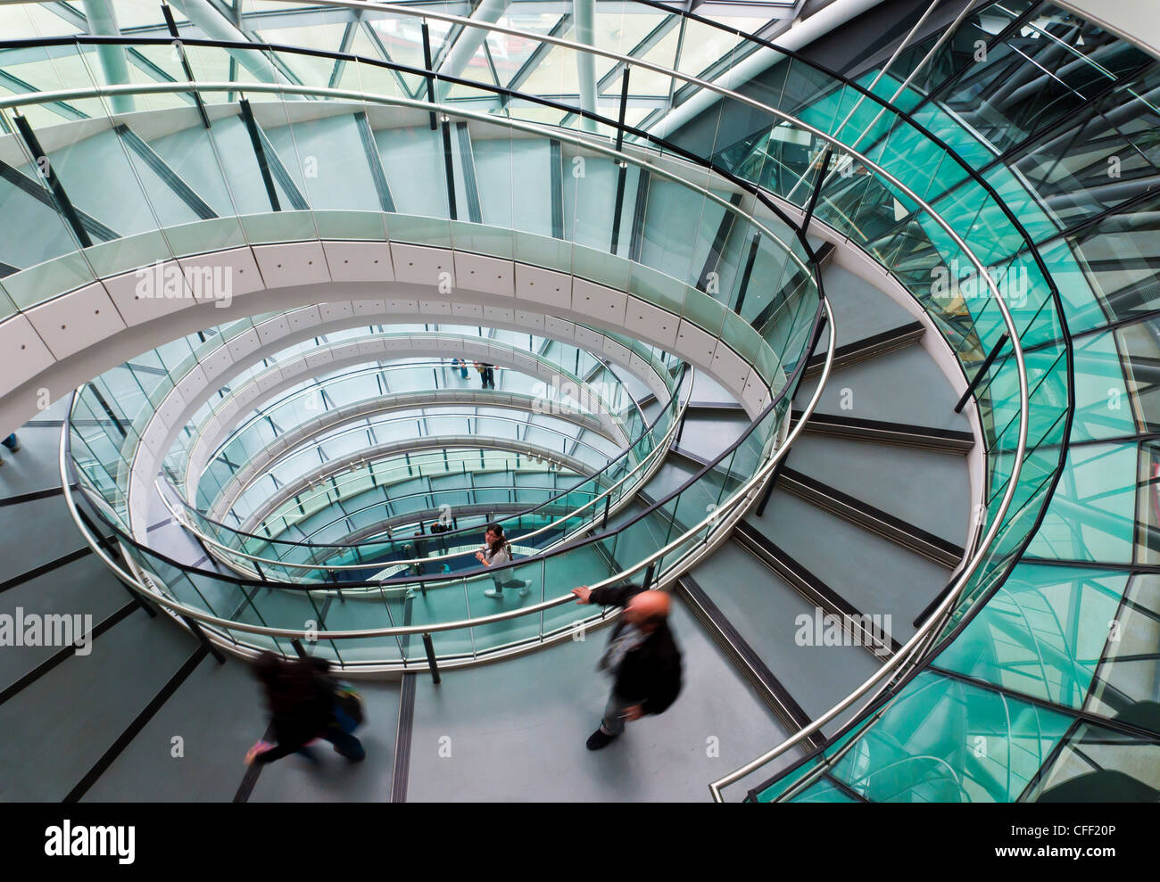 Helical staircase, City Hall, London, England, United Kingdom, Europe - Stock Image