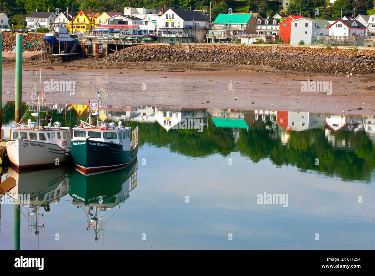 Fishing boats tied up at wharf, Digby, Nova Scotia, Canada Stock Photo