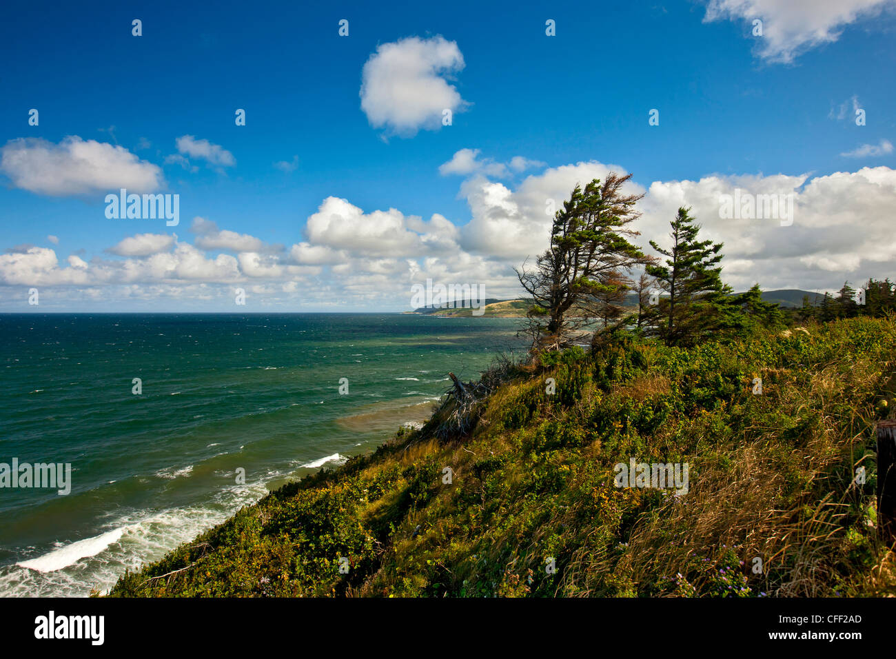 View from Little Mabou cliff towards Mabou Harbour mouth, Cape breton, Nova Scotia, Canada - Stock Image