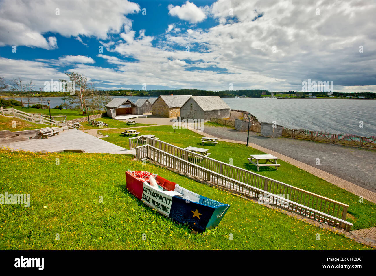 LeNoir Landing, Airchat Historic Waterfront, Isle Madame, Cape Breton, Nova Scotia, Canada - Stock Image