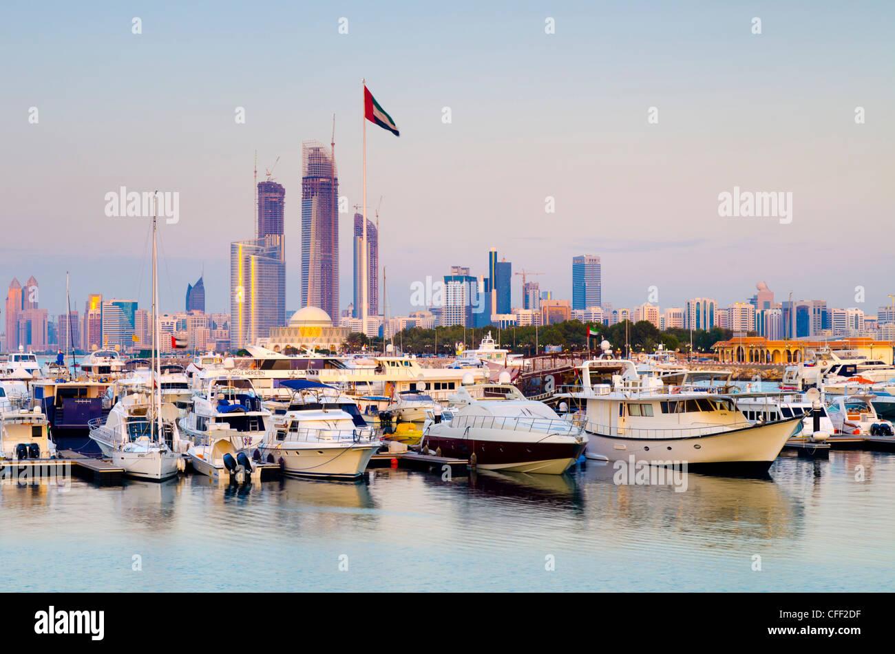 City skyline from Abu Dhabi International Marine Sports Club, Abu Dhabi, United Arab Emirates, Middle East - Stock Image