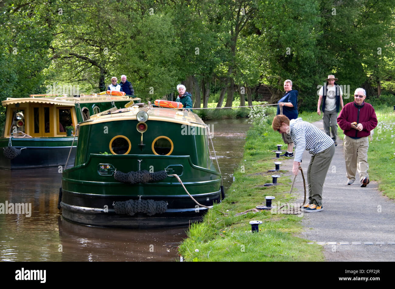 Holiday hire barges on the Monmouthshire and Brecon Canal at Talybont in the Brecon Beacons National Park,Wales,Britain. - Stock Image