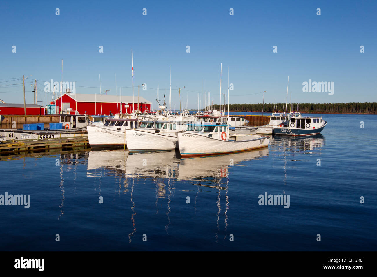 Fishing boat tied up at wharf, Northport, Prince Edward Island, Canada - Stock Image