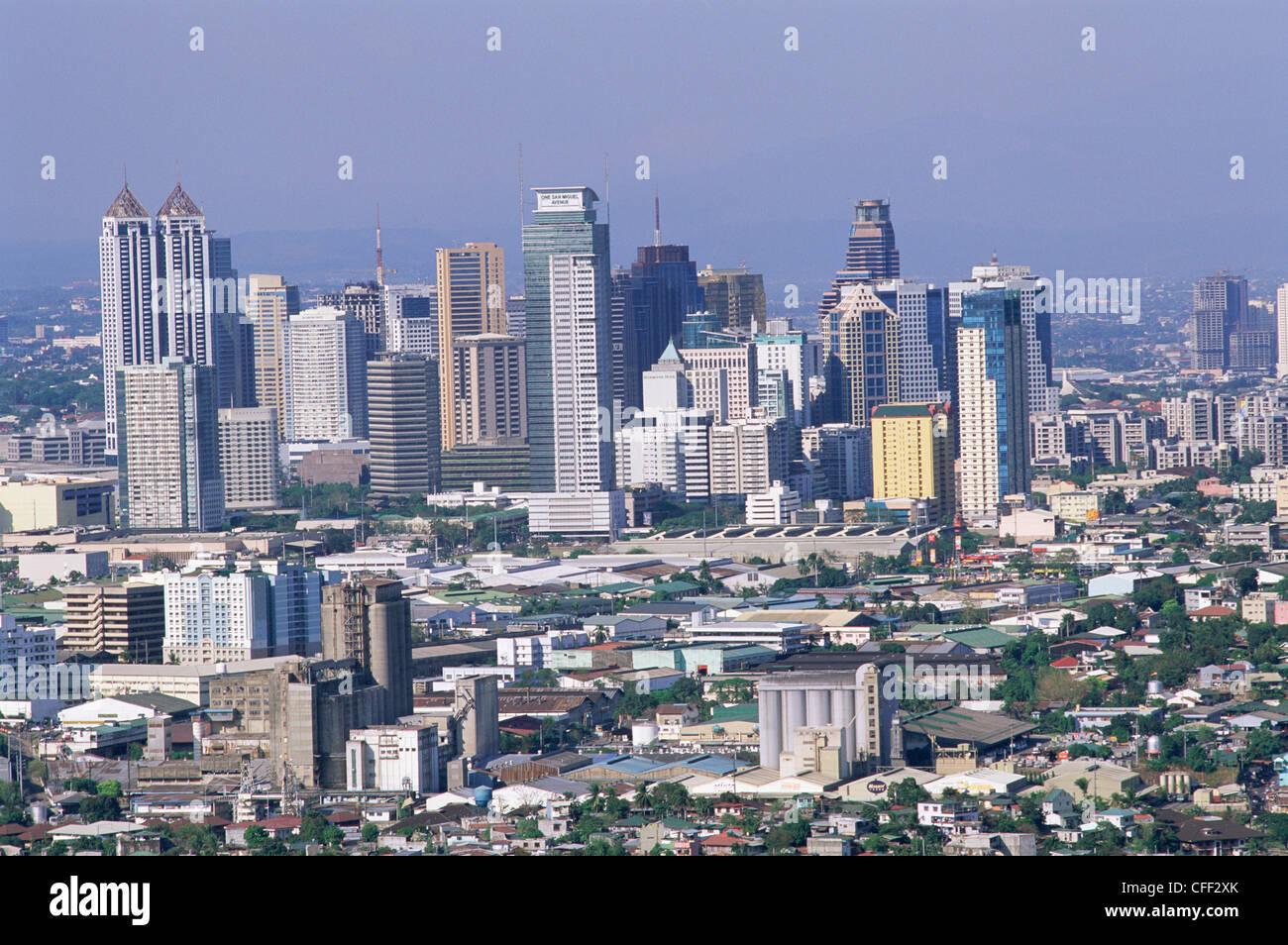 Philippines, Manila, Pasig City Business Area Skyline - Stock Image