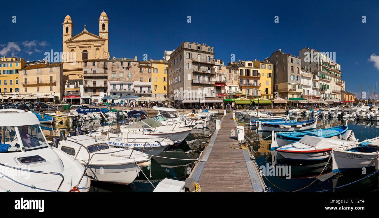 Panorama over the old harbor and the old town, Bastia, Corsica, France - Stock Image