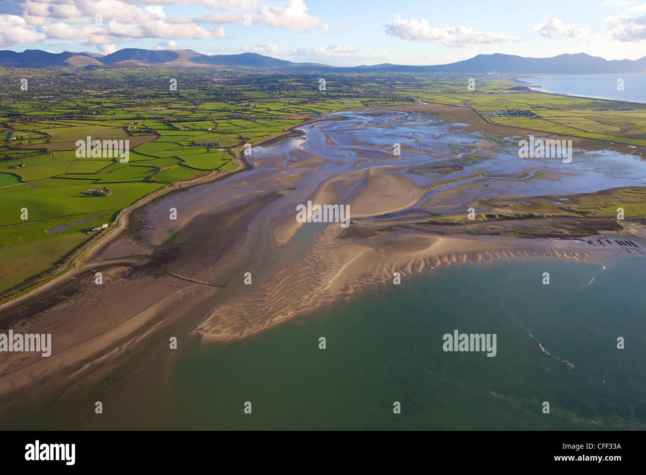 Aerial photograph of Foryd Bay, Menai Strait, Snowdonia, North Wales, Cymru, United Kingdom, Europe - Stock Image