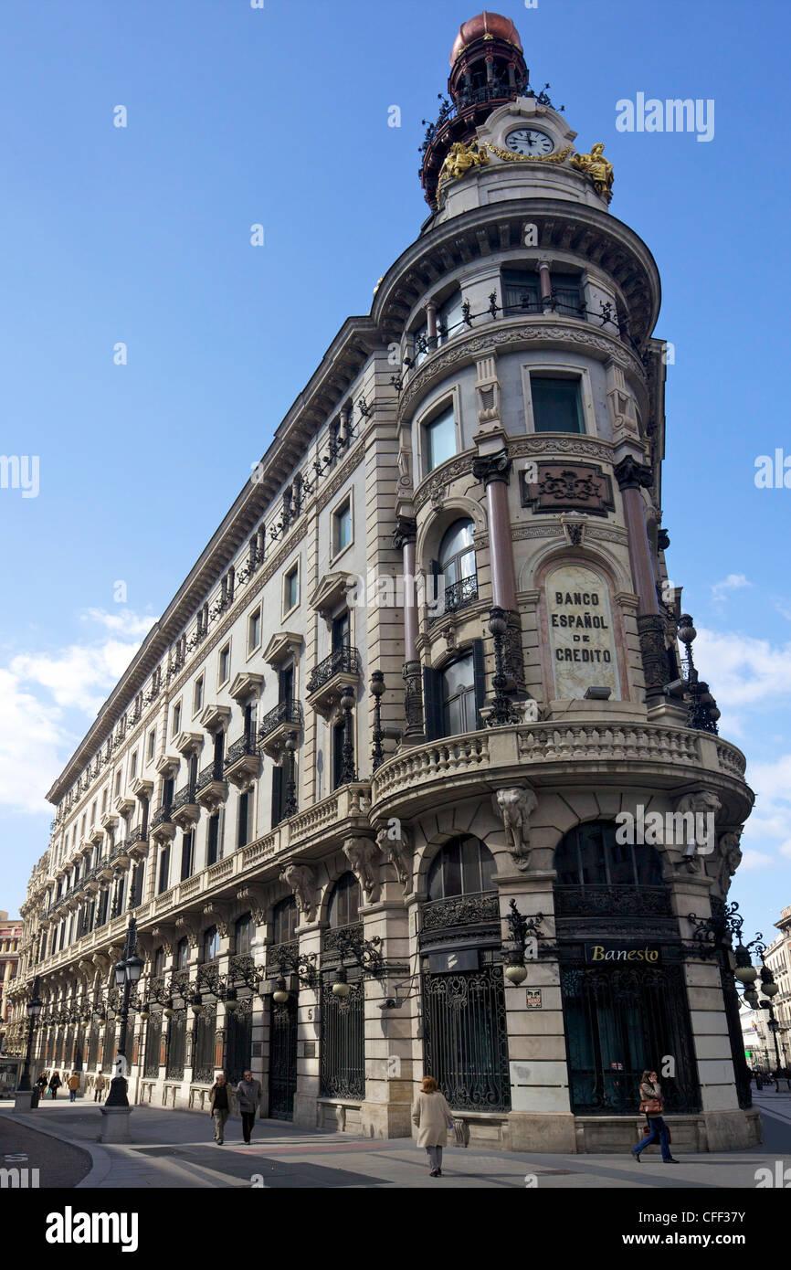 Banco Espanol de Credito, Calle de Alcala, Jose Grases Riera, on corner with Calle de Sevilla, Madrid, Spain - Stock Image