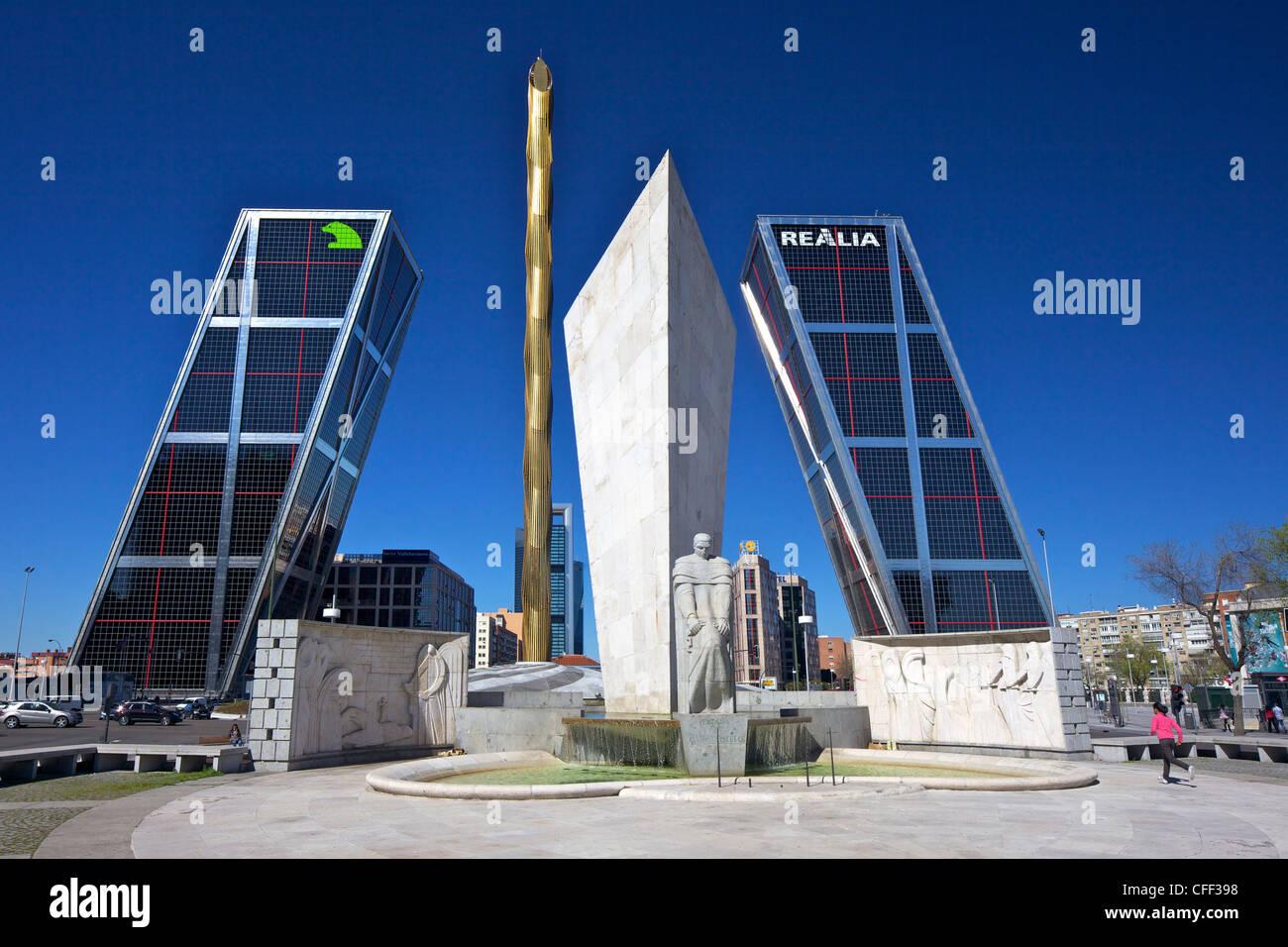 Kio towers (Torres Kio) at the end of the Paseo de la Castellana, Plaza Castilla, Madrid, Spain, Europe - Stock Image