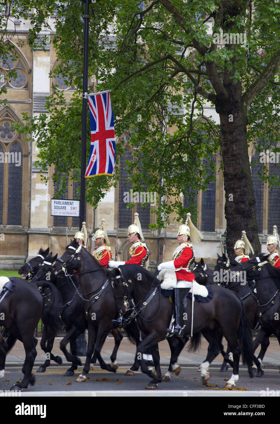 Household Cavalry Guards outside Westminster Abbey during the marriage of Prince William to Kate Middleton, London, - Stock Image