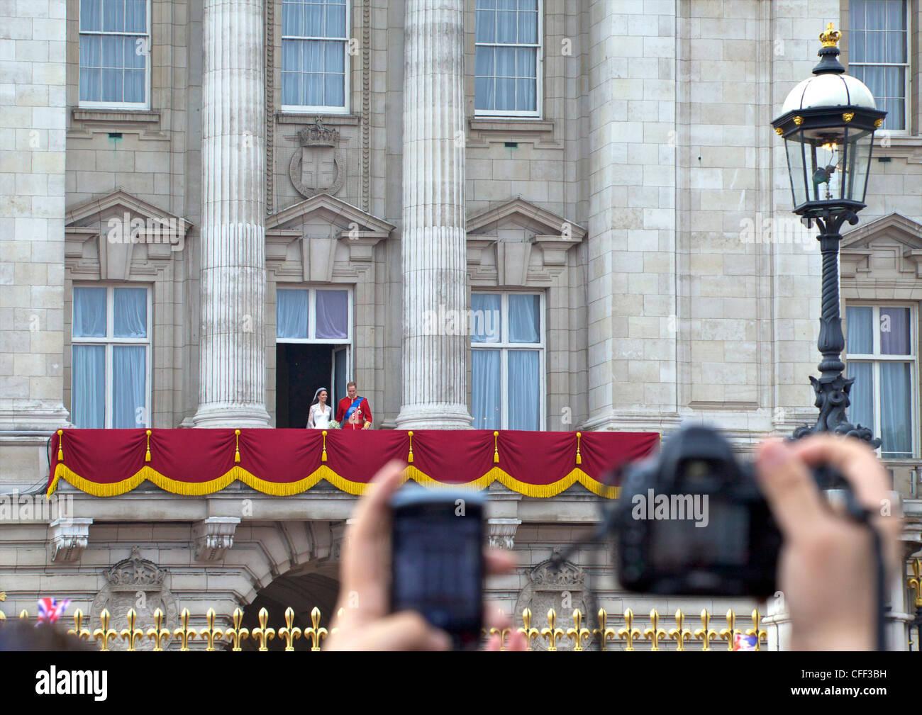 Appearance on the balcony of Buckingham Palace, Marriage of Prince William to Kate Middleton, London, England, United Stock Photo