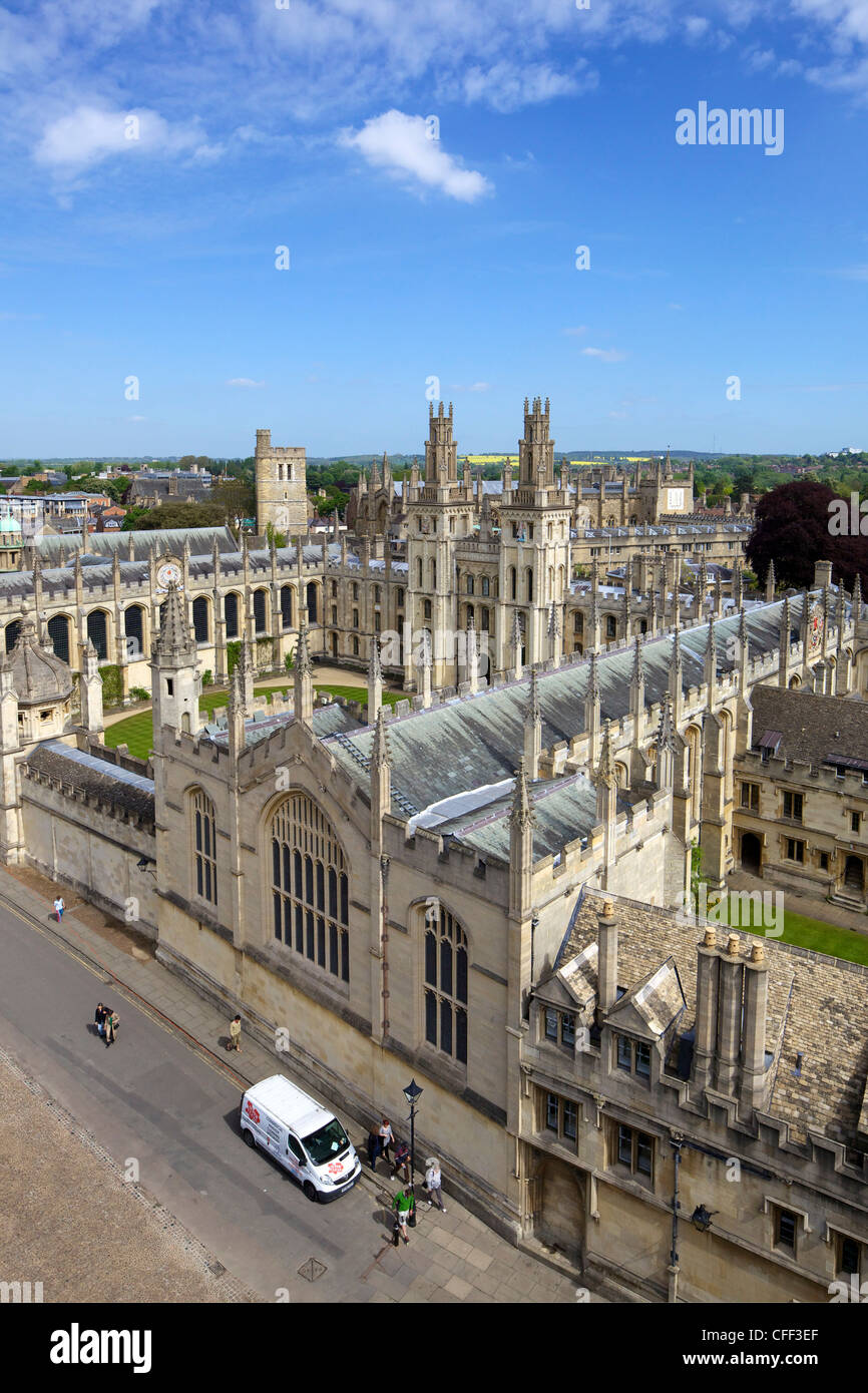 All Souls College, from tower of University Church of St. Mary The Virgin, University of Oxford, Oxfordshire,  England, - Stock Image
