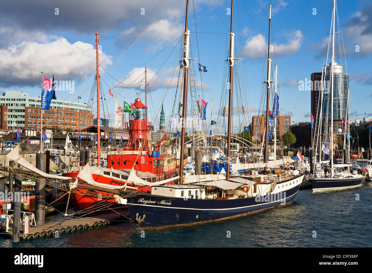 Fire ship at harbour in front of Hanseatic Trade Center, Hanseatic citiy of Hamburg, Germany, Europe - Stock Image