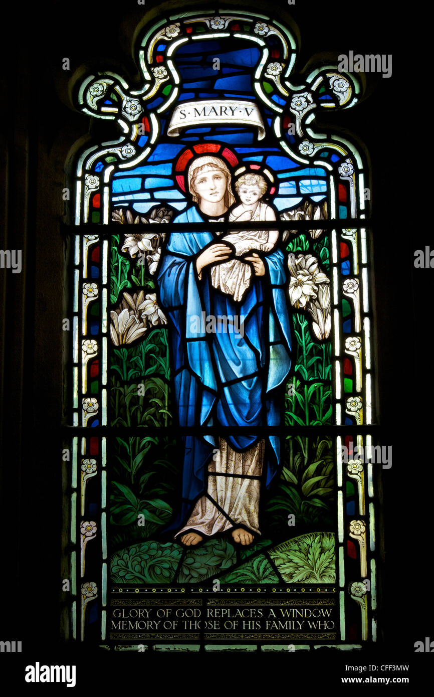 Stained glass window of St. Mary, Cloisters, Gloucester Cathedral, Gloucester, Gloucestershire, England, UK - Stock Image