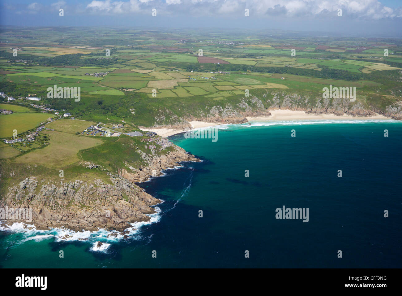 Aerial photo of Lands End Peninsula looking east to the Minnack Theatre, West Penwith, Cornwall, England, UK - Stock Image