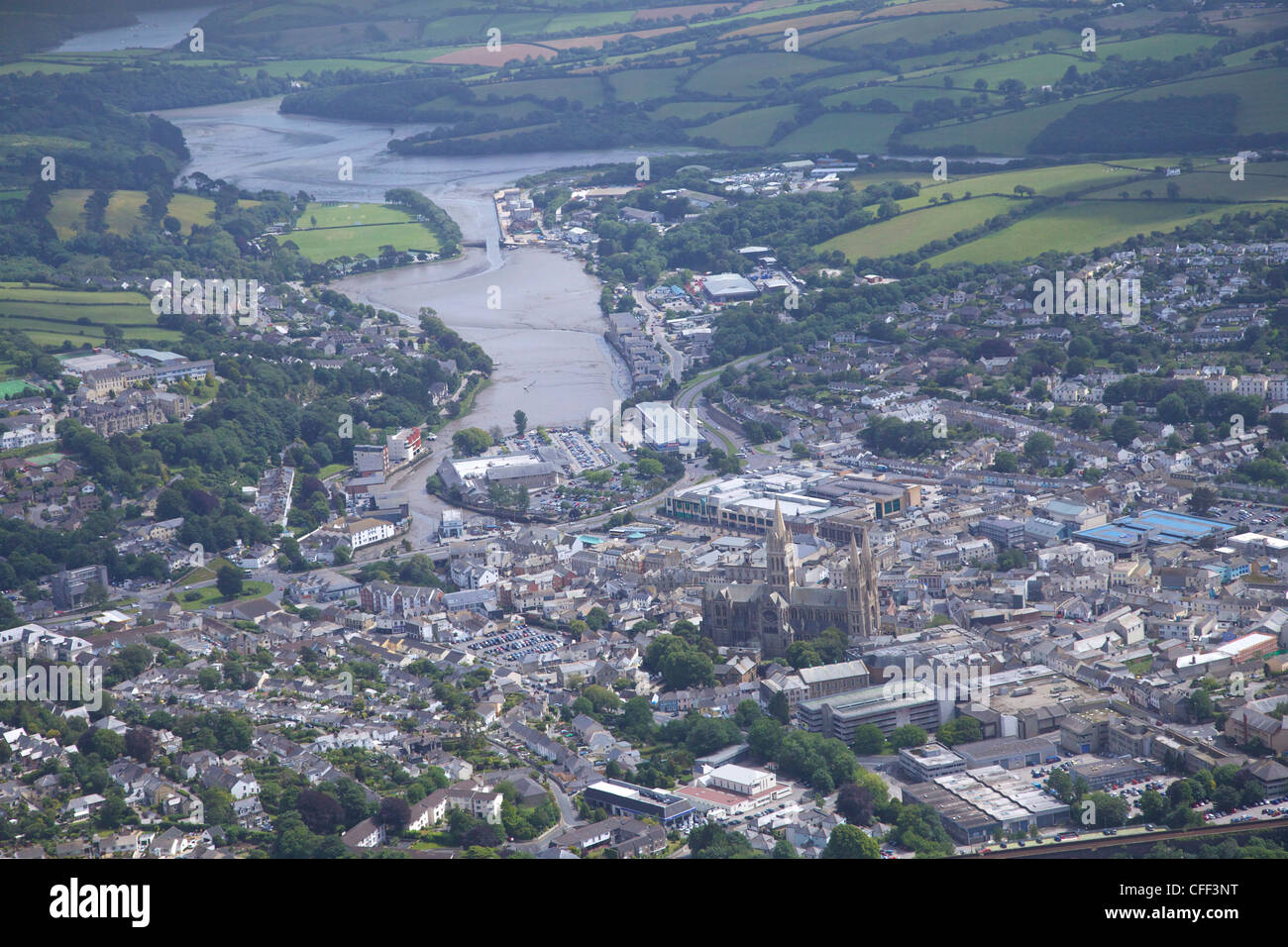 Aerial view of city and cathedral, Truro, Cornwall, England, United Kingdom, Europe - Stock Image