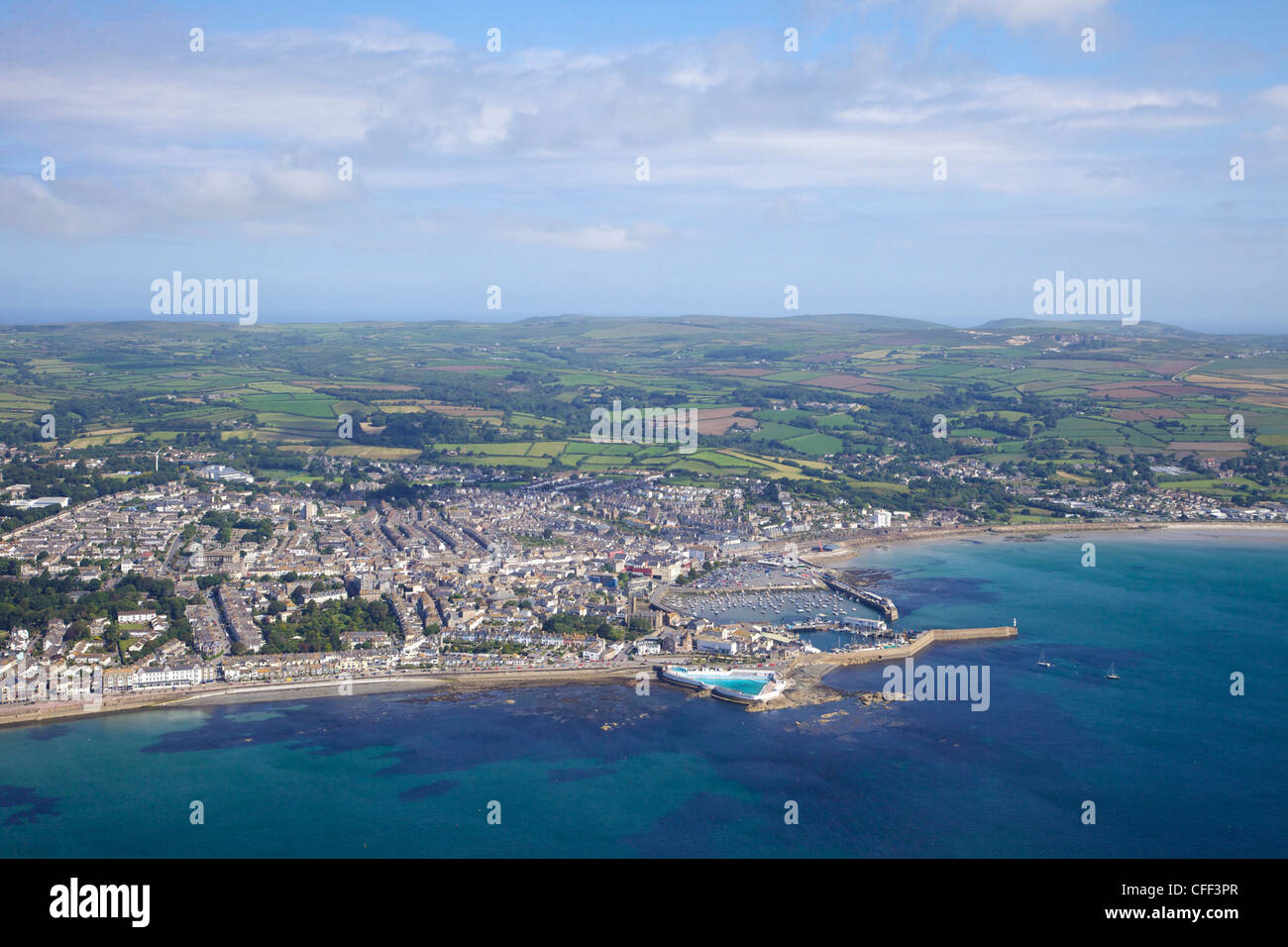 Aerial photo of Penzance harbour, West Penwith, Cornwall, England, United Kingdom, Europe - Stock Image