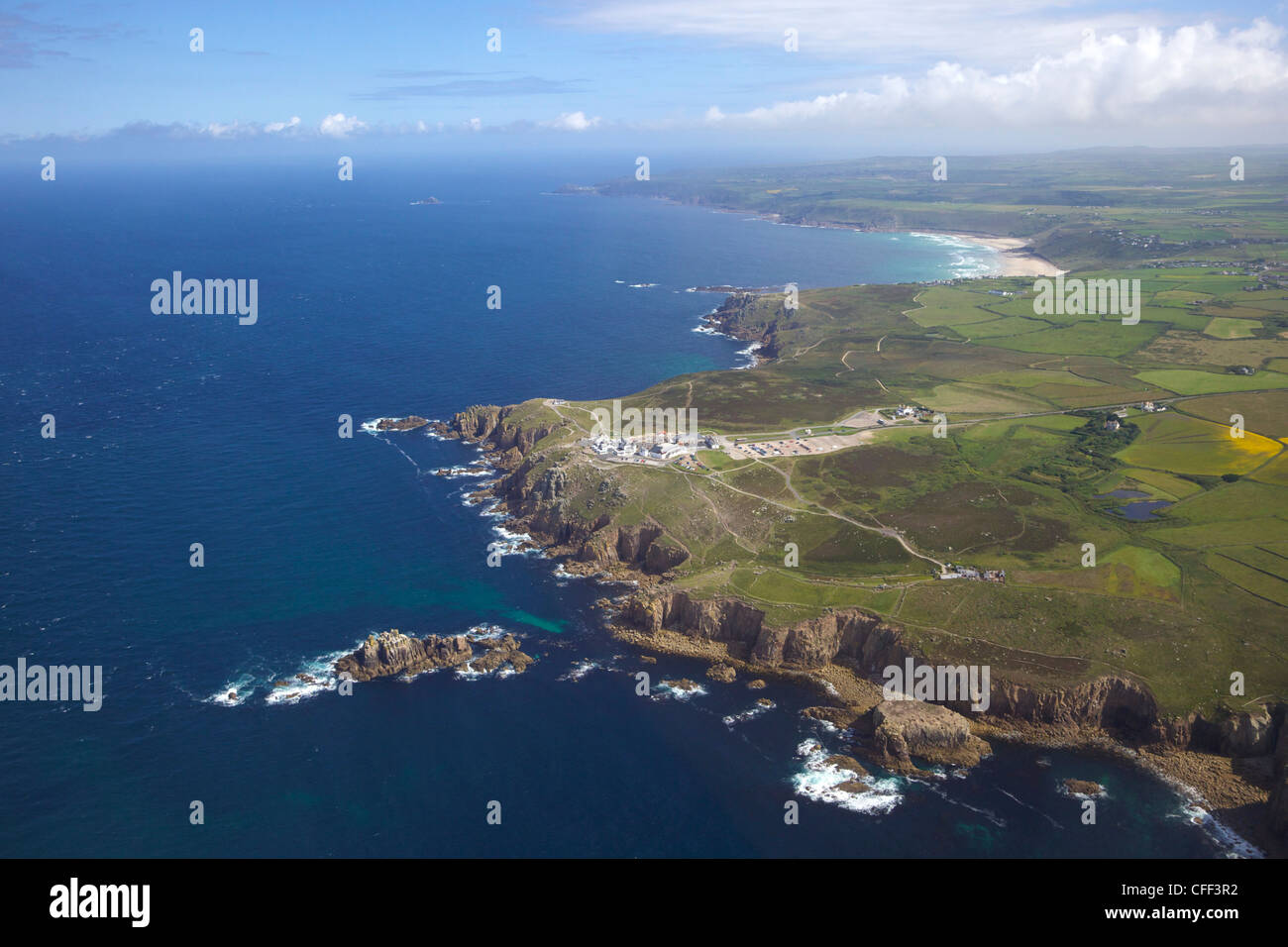 Aerial photo of Lands End Peninsula, West Penwith, Cornwall, England, United Kingdom, Europe Stock Photo