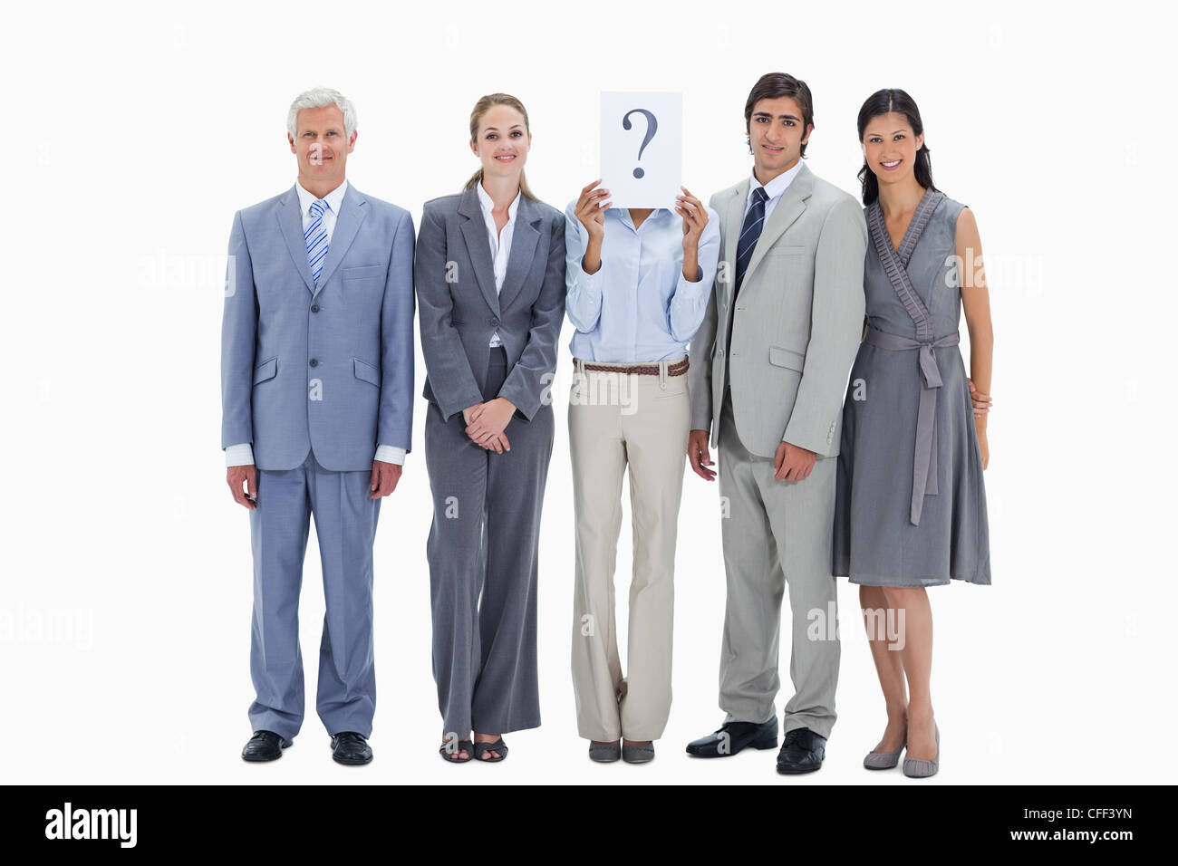 Business team with question mark - Stock Image