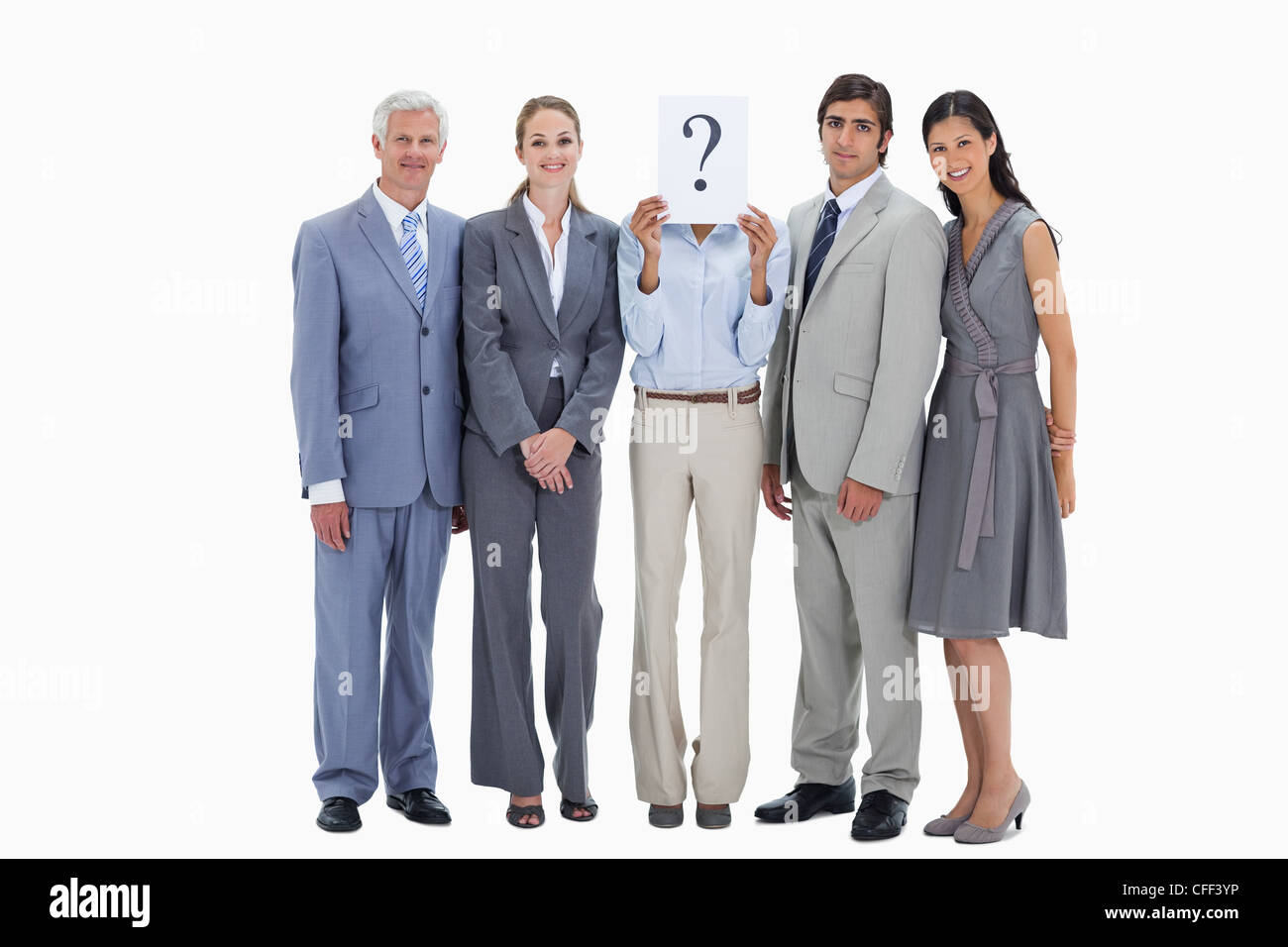 Business team with a question mark - Stock Image