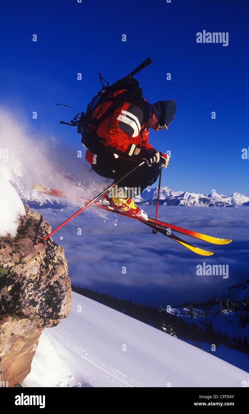 Skiing fresh powder in Bowl Over at Kicking Horse Resort, Golden, British Columbia, Canada. - Stock Image