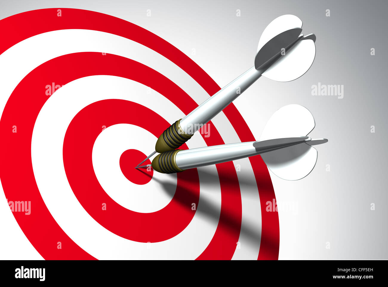 Two arrows on red target - business concept Stock Photo - Alamy