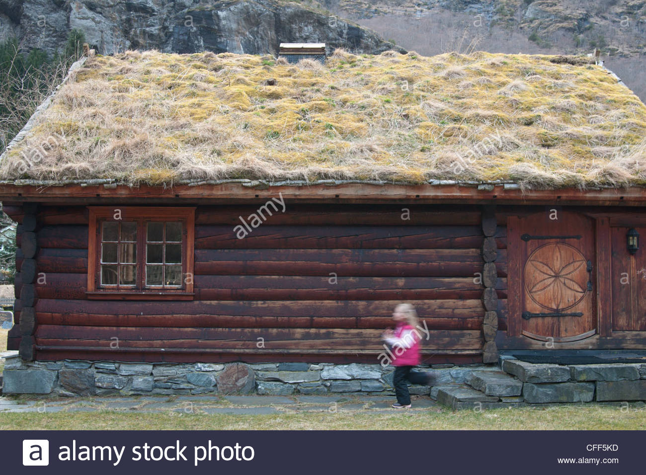 Sod-roofed home in Flam, Norway, Scandinavia, Europe - Stock Image
