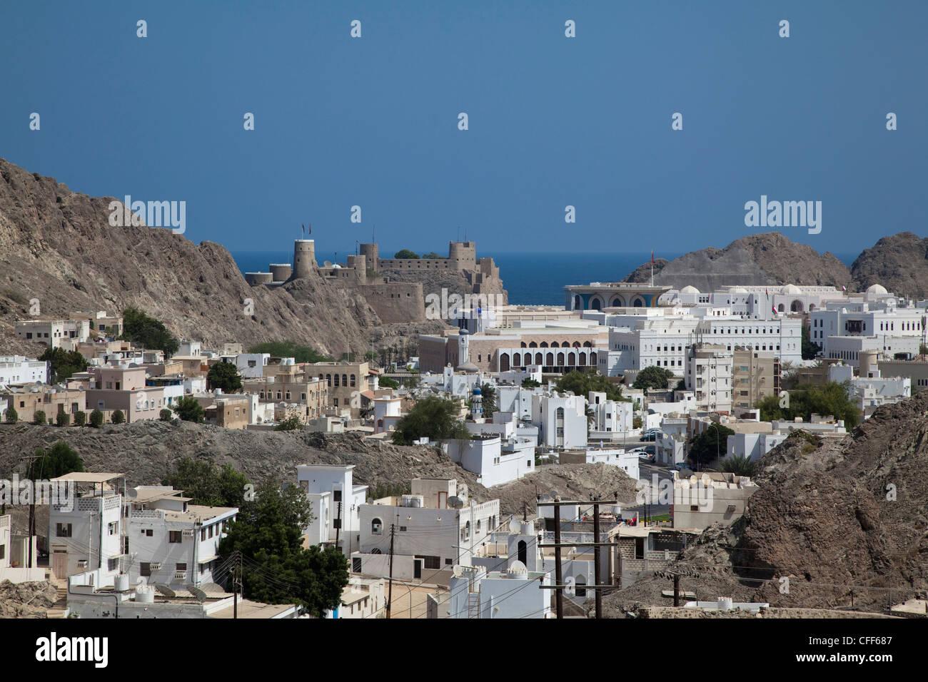 Overhead of Old Muscat, Muscat, Masqat, Oman, Arabian Peninsula - Stock Image