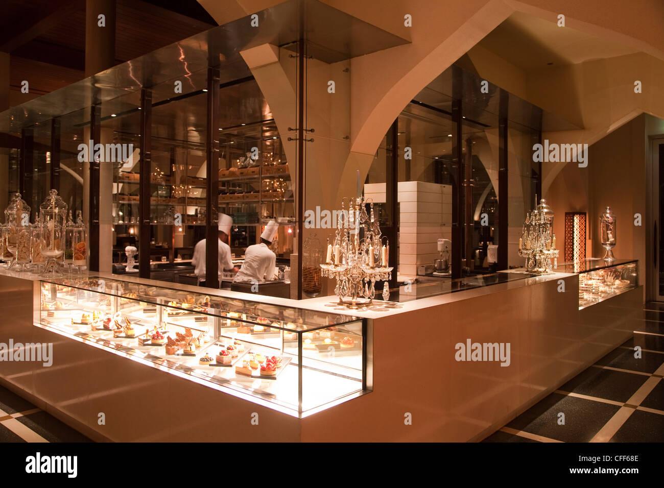 Patisserie inside The Restaurant, The Chedi Muscat hotel, Muscat, Masqat, Oman, Arabian Peninsula - Stock Image