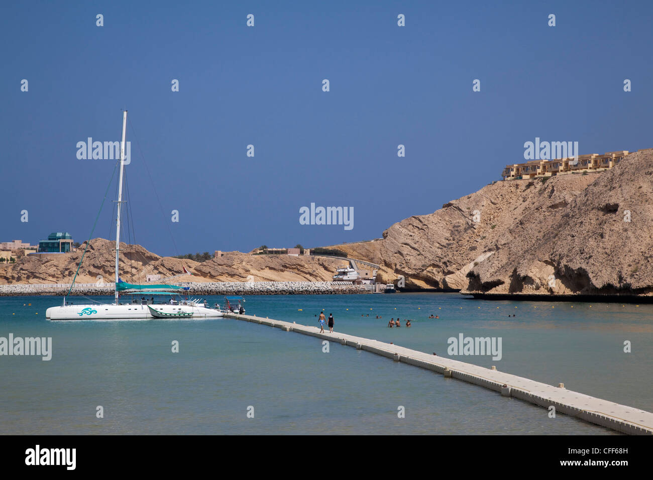 Catamaran SY Azzura, Ocean Blue Oman cruises, at pier of Oman Dive Centre, Muscat, Masqat, Oman, Arabian Peninsula - Stock Image