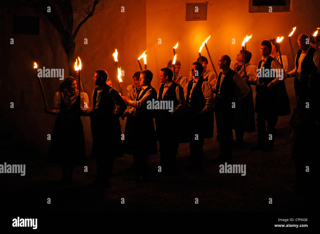 Torch procession at Easter at night, Alto Adige, South Tyrol, Italy, Europe Stock Photo