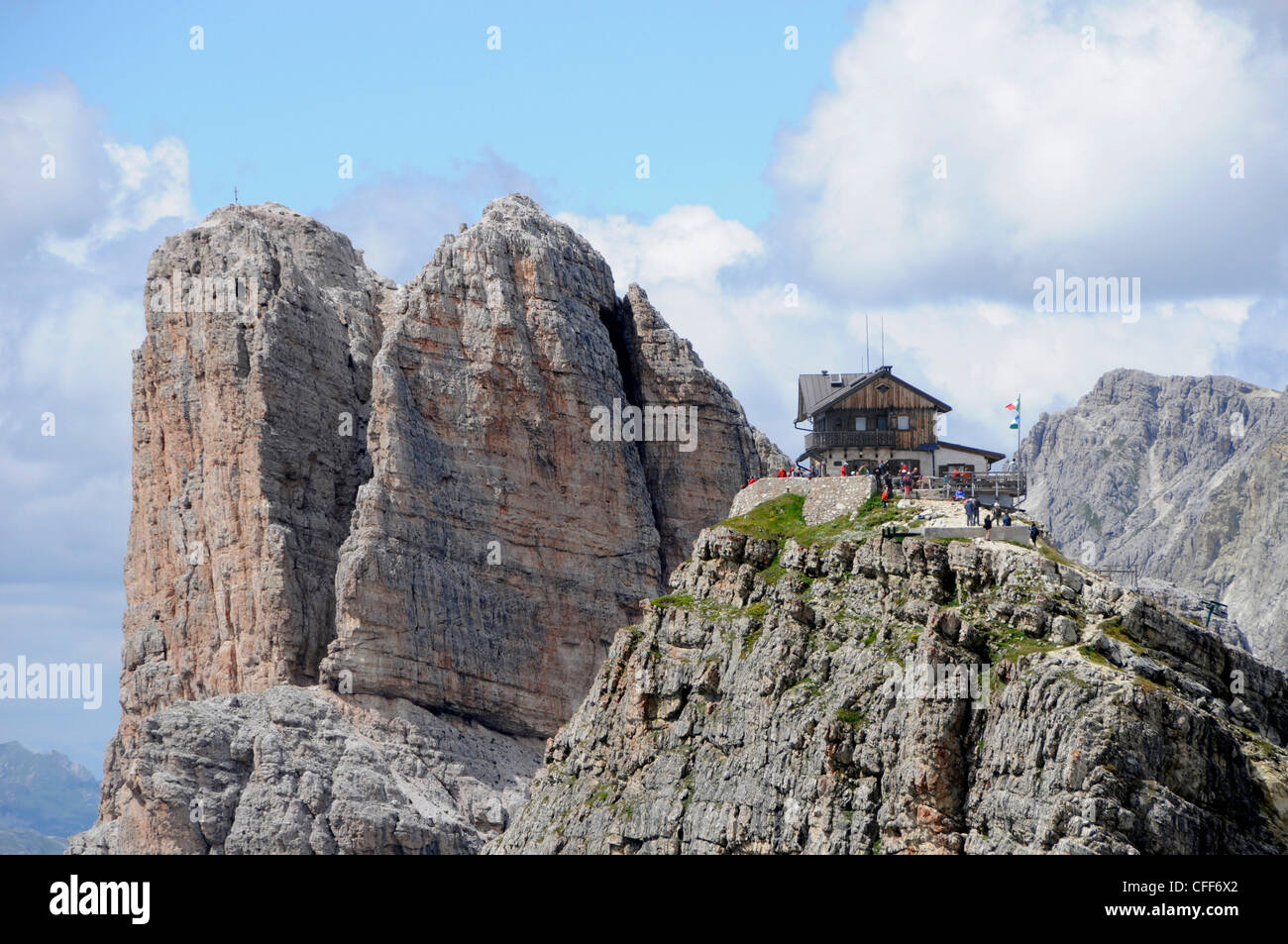 Alpine hut at Dolomiti ampezzane, Alto Adige, South Tyrol, Italy, Europe Stock Photo