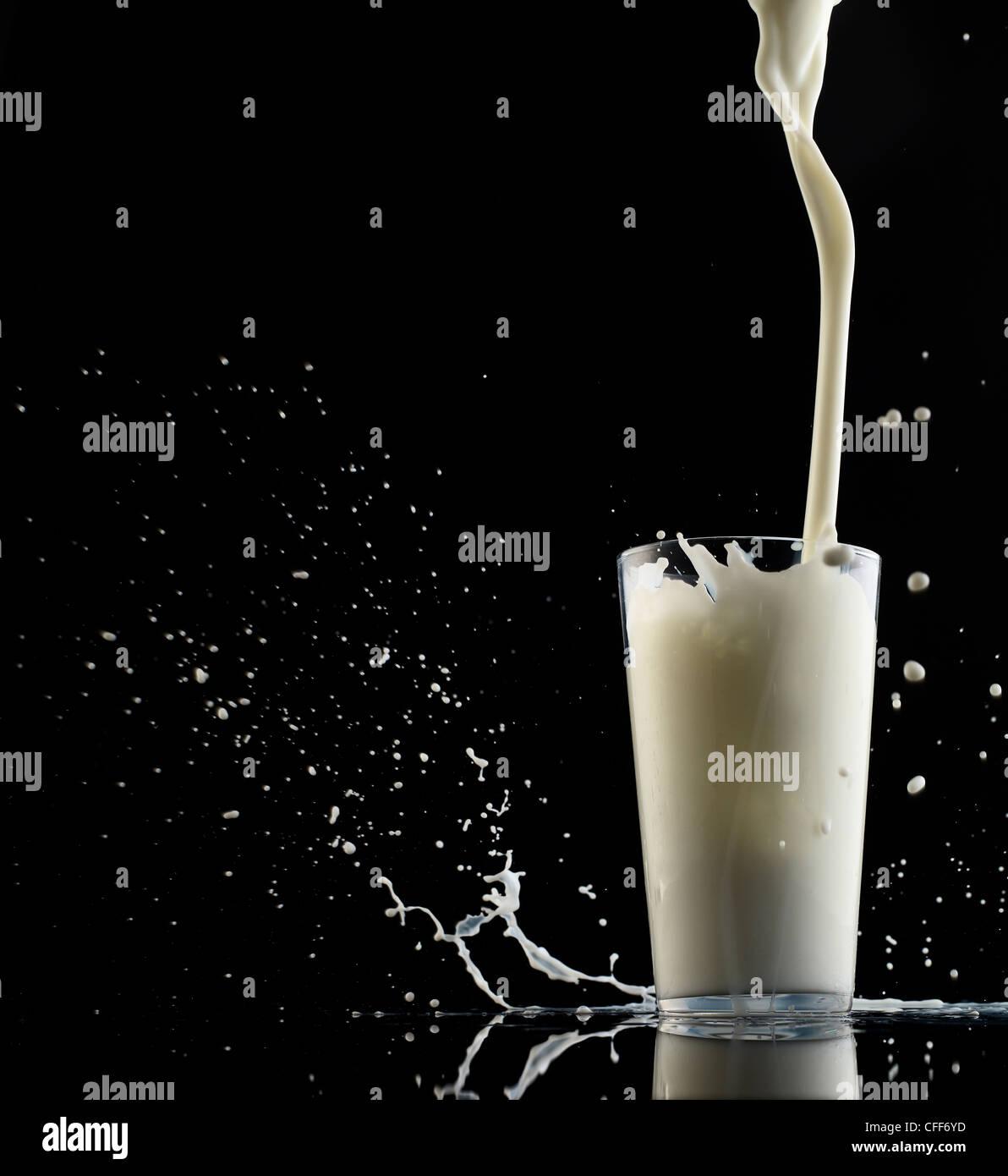Milk splashing into a glass - Stock Image
