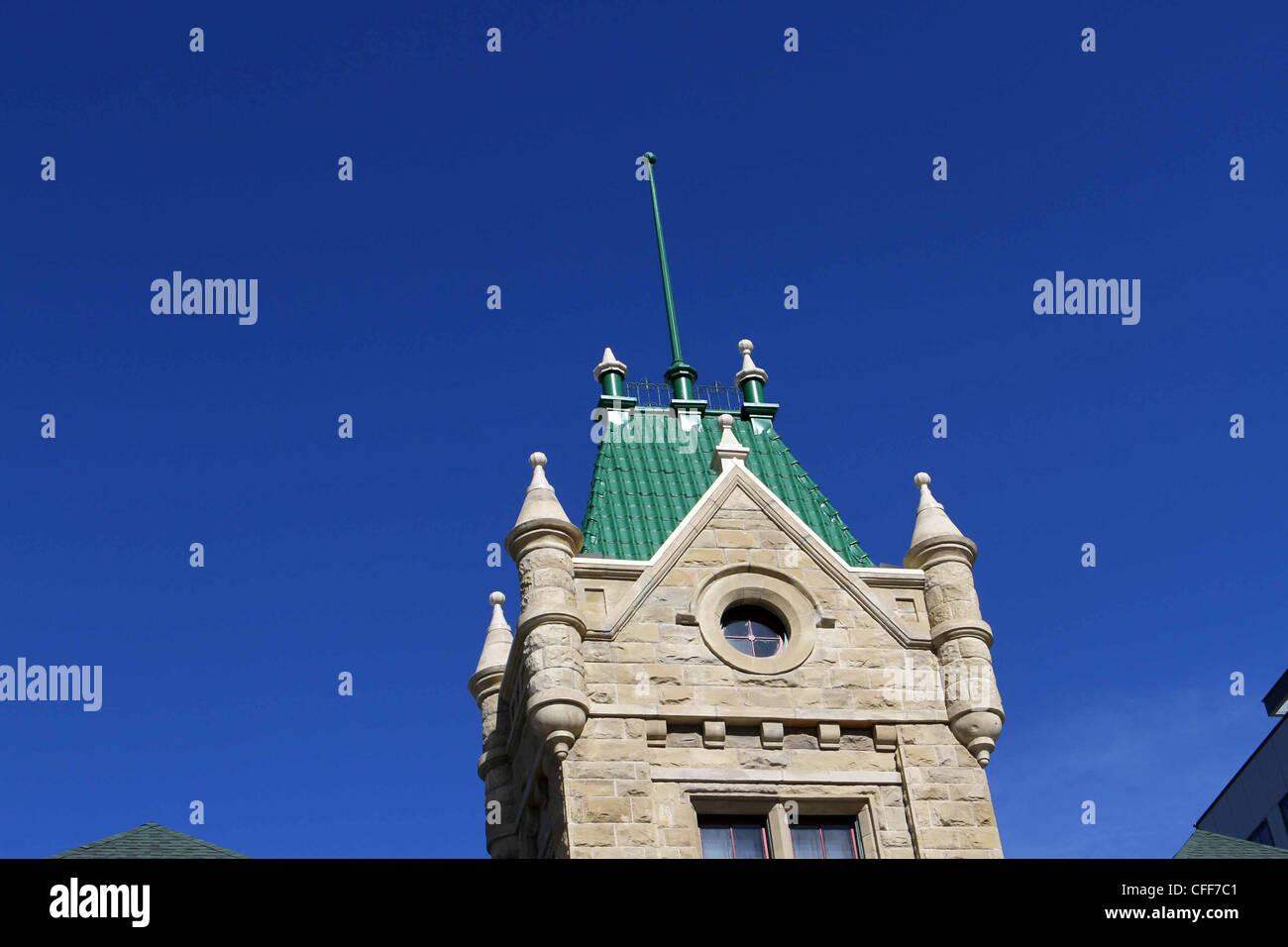 Old sandstone school building in downtown Calgary, Alberta, Canada. - Stock Image