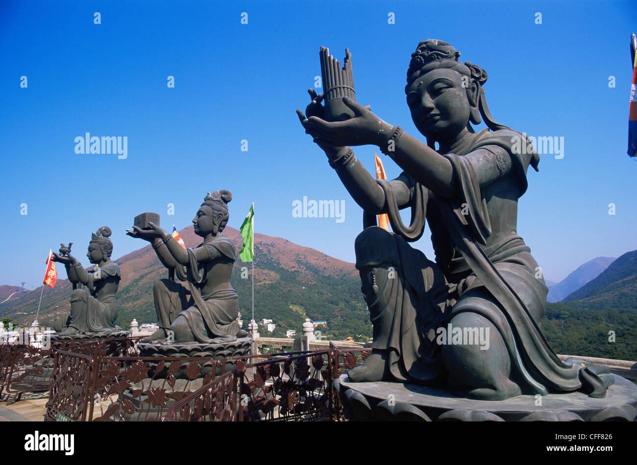 China, Hong Kong, Lantau, Chinese Goddess Statues at Po Lin Monastery - Stock Image