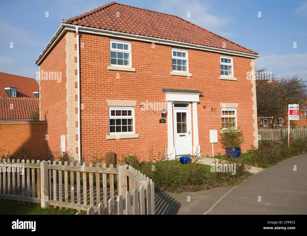 Detached new house for sale Rendlesham, near Woodbridge, Suffolk - Stock Image