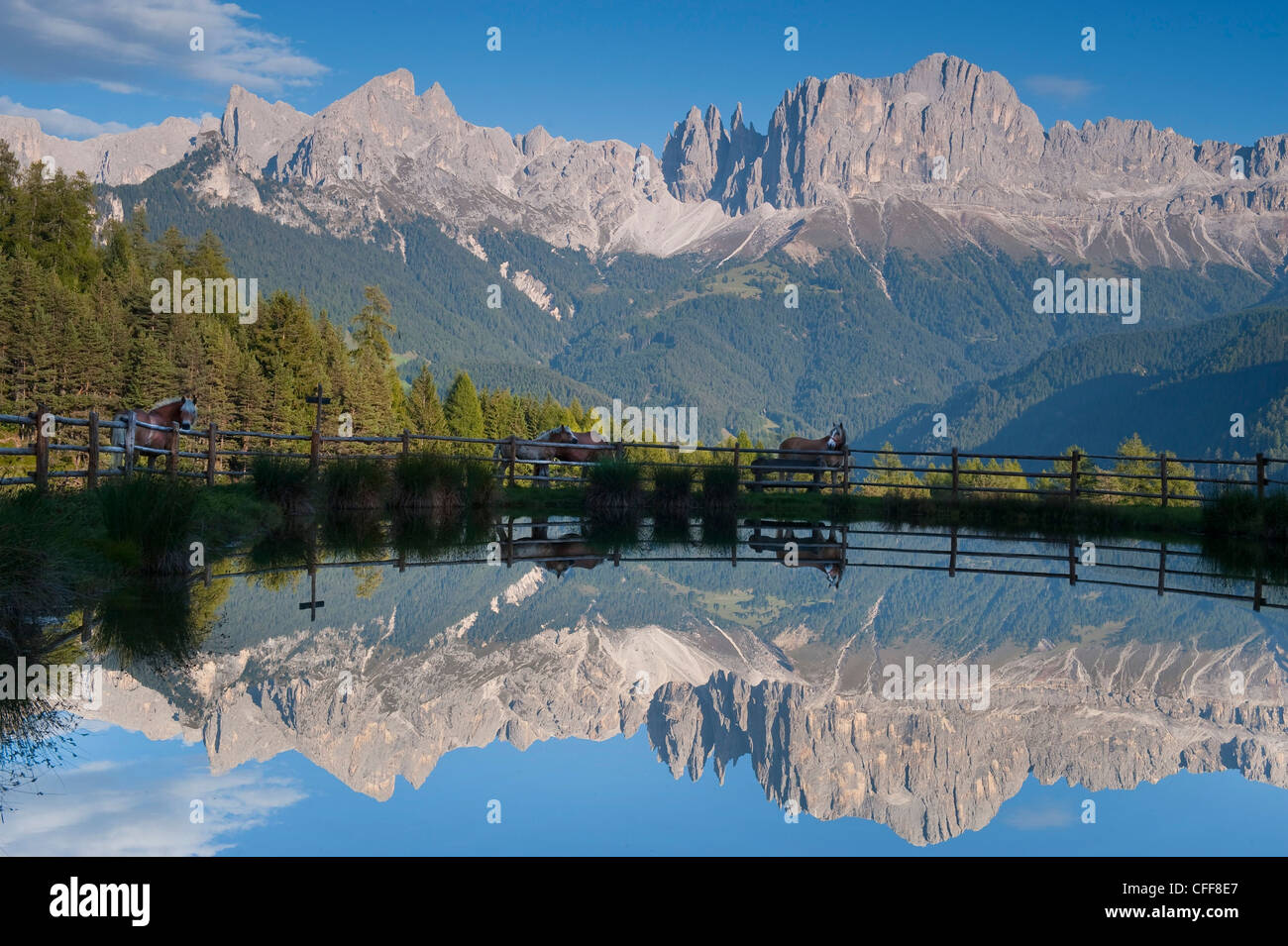 Reflections of mountains on lake Wuhn, Valley of Tiersertal, South Tyrol, Alto Adige, Italy, Europe - Stock Image