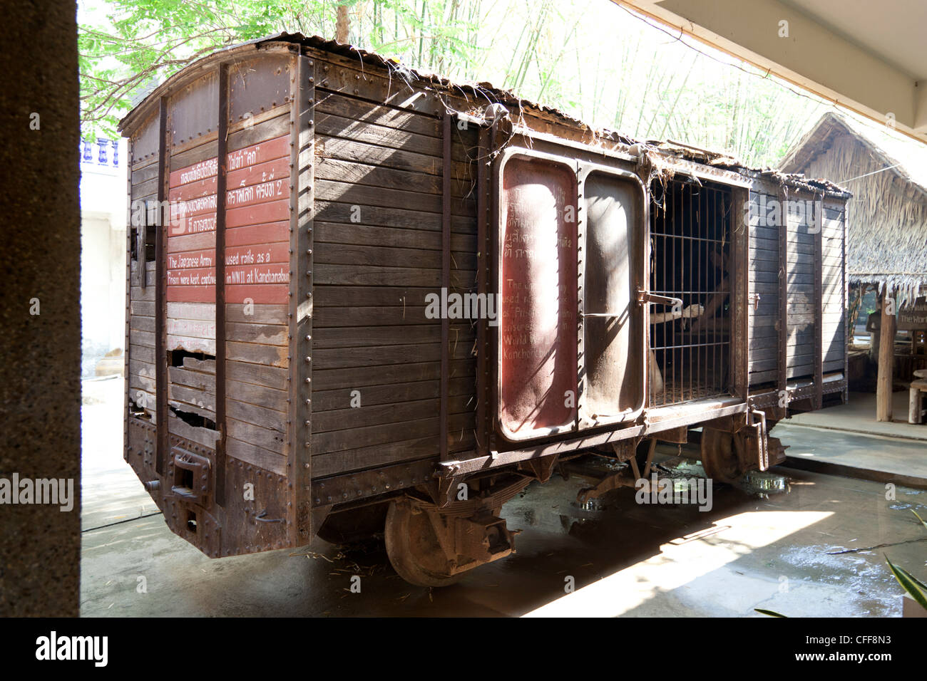 A wagon on display in which war prisoners (POW's) were jailed by the Japanese army (Kanchanaburi - Thailand). - Stock Image