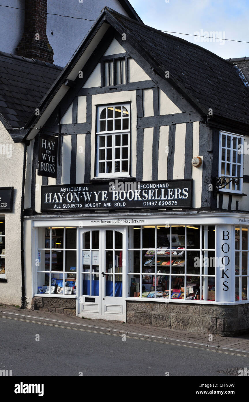 Hay-on-Wye Booksellers, a bookshop in the centre of the famous book-town of Hay. - Stock Image