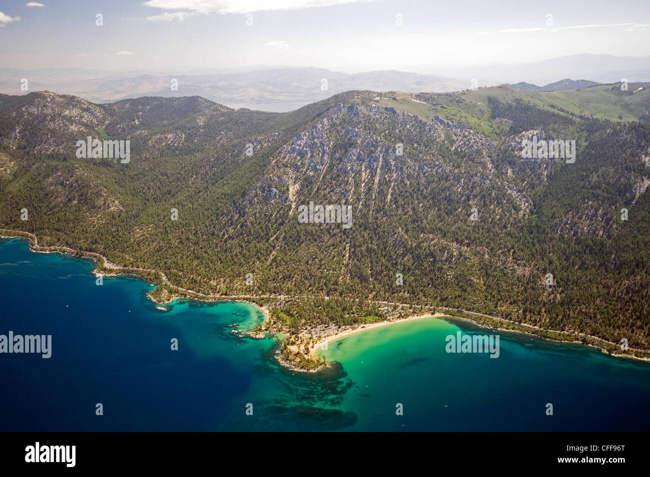 An aerial view of Sand Harbor on the east shore of Lake Tahoe in the summer, Nevada. - Stock Image