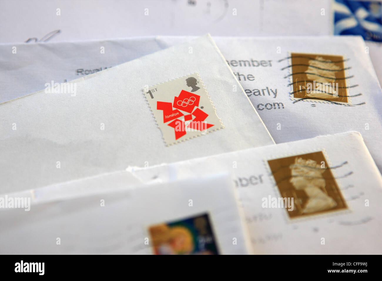 British stamps on envelopes - Stock Image